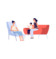 family psychologist mother son psychotherapy vector image
