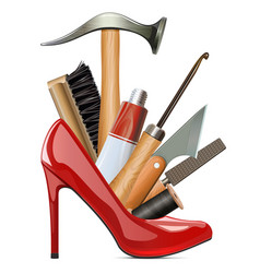 Female red shoe with cobbler tools vector