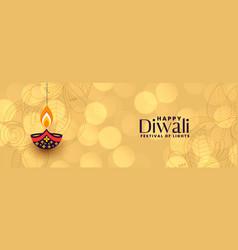 Festival banner happy deepawali in bokeh style vector