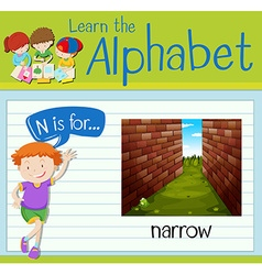 Flashcard letter n is for narrow vector