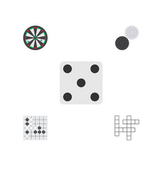 Flat icon play set of chequer backgammon gomoku vector