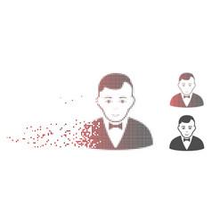 Fragmented pixel halftone dealer icon vector