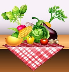 Fresh vegetables and fruit on table vector