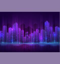 futuristic city building high neon cityscape vector image