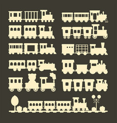 game gift kids train silhouette travel vector image