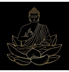 Gold Buddha sitting on Lotus vector