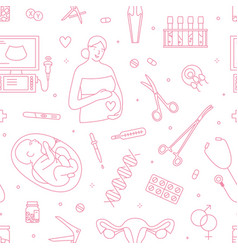 Gynecology and pregnancy linear seamless vector