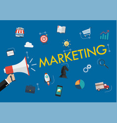 hand holding megaphone with marketing word and vector image