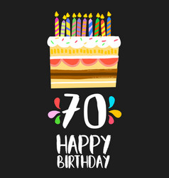 Happy birthday cake card for 70 seventy year party vector