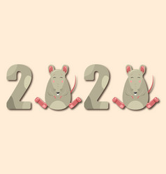 happy chinese new year 2020 rat zodiac funny vector image