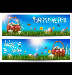 happy easter horizontal banner on grass background vector image