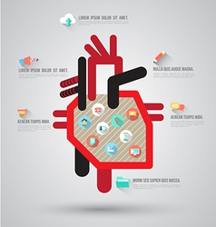 Heart with flat icons vector image