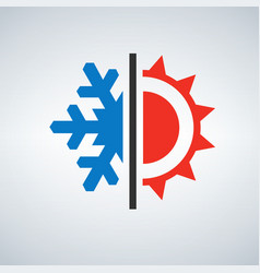 hot and cold symbol sun and snowflake vector image