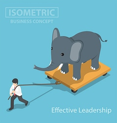 Isometic businessman pull elephant vector image