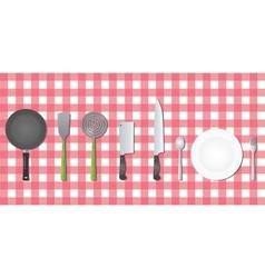 Kitchen set tools utensil on table vector