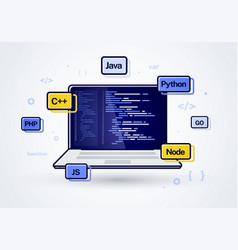 Laptop web development programming coding icon vector
