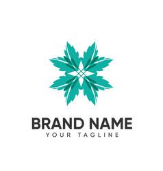 Leaf logo design concept template full color for vector