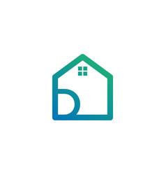 Letter d architect home construction creative vector