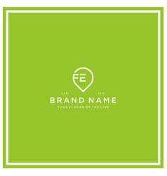 Letter fe pin logo design vector