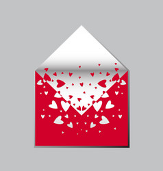love postal envelope with red hearts vector image