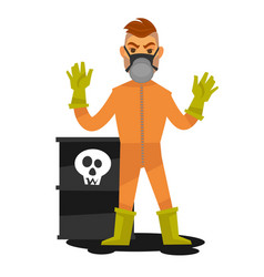 Man in special overalls and mask stand beside vector