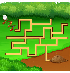 maze ant games find their way to the hole ground vector image