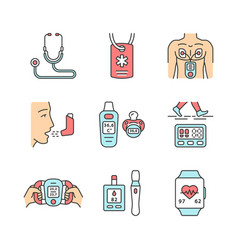 medical devices color icons set vector image