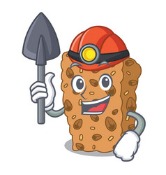 Miner granola bar mascot cartoon vector