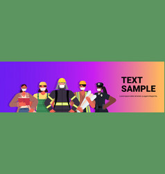 mix race people different occupations standing vector image