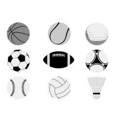 Monochrome sports balls set vector