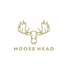 moose deer line art logo icon design vector image
