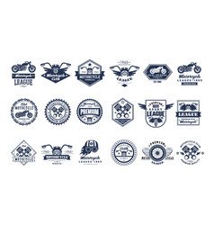 Motorcycle club logo template set sport league vector
