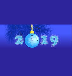 new year 2019 snowflakes in numbers ball clock vector image