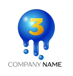 number three splash logo blue dots and bubbles vector image