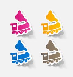 Paper sticker train vector