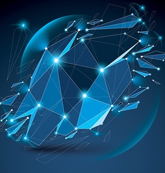 Perspective digital technology shattered shape vector