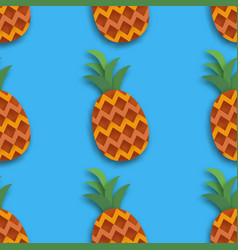 Pineappple seamless pattern ananas in paper cut vector