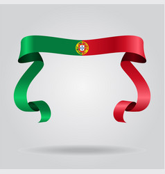 portuguese flag wavy ribbon background vector image