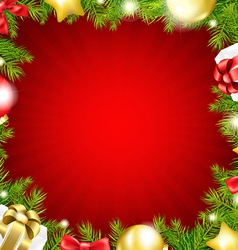 Red Xmas Card With Fir Tree vector image