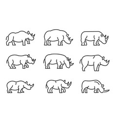 Rhino icons set outline style vector