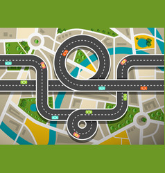 road map aerial view with cars on highway and vector image