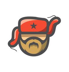 Russian partisan head icon cartoon vector