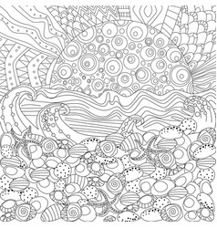Seascape for coloring book vector