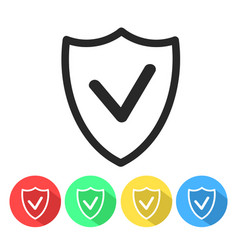 Security shield confirmation check line icon for vector