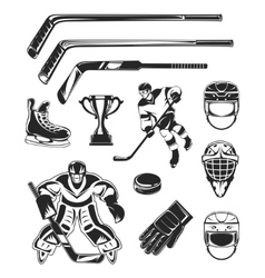 set of black hockey icon vector image