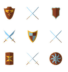 set of medieval shield and weapon icon and label vector image