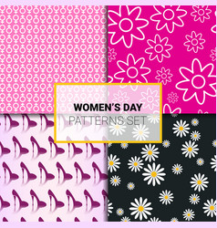 set of seamless patterns for woman day holiday vector image