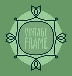 Simple vintage outlined frame floral retro design vector