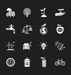 Sixteen flat eco icons vector