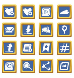 social network icons set blue square vector image